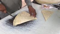 南亚地区,街头薄煎饼制作,流水化作业