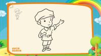 建军节简笔画教程,如何画卡通士兵,海知简笔画大全