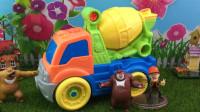 益智组装工程车玩具,熊大熊二帮光头强组装混疑土车!