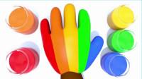宝宝学颜色,给猴宝宝的手涂上五种不同的染料,亲子早教益智