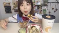 #吃播  今天吃肉蛋大烧卖 海苔大贝雪胖子  我好想吃韩国拌饭!!!!!明天吃!!!