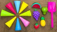 用沙子DIY仿真彩色冰淇淋具  儿童学习颜色视频