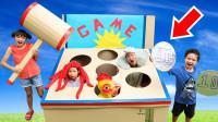 太搞笑了!打动物的游戏萌宝小正太能成功获胜么?趣味玩具故事