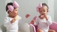 双胞胎宝宝对话,说了一口婴语,妈妈:你们高兴就好
