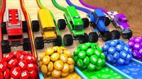 超奇怪!怪兽汽车头上的足球竟然变成了水果?2分钟学会5种颜色!趣味儿童玩具游戏故事