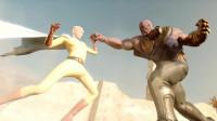 灭霸VS一拳超人,无限手套威力太大,能牵引小星球攻击!