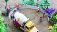 儿童汽车玩具集合 铲车工程车水泥罐车表演 建造一个美丽的花园