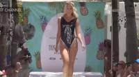 纽约时装周泳装发布会走秀,刺绣连体比基尼,好美啊!