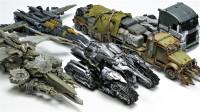 变形金刚5部电影中不同形态的霸天虎威震天机器人变形玩具展示