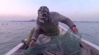 堆在地笼里的海鲜打成一团,阿雄出海收地笼,直呼这海鲜抓得真过瘾啊!