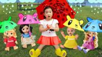 超可爱!萌宝小萝莉怎么送给4个小宝宝4把雨伞呢?2分钟学4种色彩英语,儿童益智早教游戏玩具故事