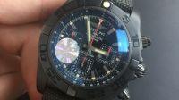GF厂百年灵机芯计时,黑钢腕表