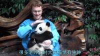 大熊猫不让男老外抱它:熊族永不为奴,递给它半个苹果后,熊猫:嗯,真香!
