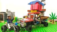 有趣的吃鸡小人儿定格动画,重型皮卡车积木玩具!