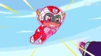 开心超人使用开心回力标打怪兽,最后开心超人被网子困住了!