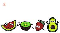 草莓西瓜彩色水果图像绘画
