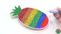 学习彩虹黏液的颜色闪耀菠萝