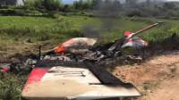 湖南一小飞机落到农田后起火 2名飞行员受伤