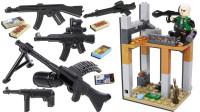 吃鸡战场积木 AK与RPG火箭筒人仔 二层残墙场景 拼装玩具 鳕鱼乐园