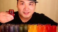 大胃王胖哥吃彩色杯子,倒上可乐喝完再吃,惬意十足,功能真强大