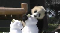 熊孩子抠掉了熊猫雪人的眼睛,还想吃它的耳朵,太调皮了