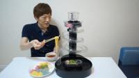 日本小哥在家自制流水素面,操作简单,再也不担心吃别人口水了
