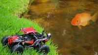 用玩具遥控车还能钓鱼?小哥将鱼竿固定在遥控车上,一钓一个准!