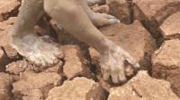 男子提着桶来到干裂的旱地,掰开一块泥土,下面全是鱼