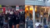 """英国一购物中心发生骚乱 百名青年与警察""""对峙""""现场画面曝光"""
