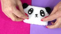 教你用毛线团做一个卡哇伊的熊猫硬币袋,手工教程!