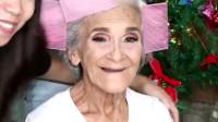 87岁老太太体验化妆术魅力,妆后效果惊艳,果然岁月从不败美人