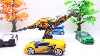 定格动画-乐高城市故事之托宝兄弟合体机器人VS变形金刚钢索恐龙玩具