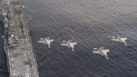 美军第五舰队对伊朗发出警告:航母直逼海峡,8架舰载机腾空而起