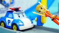变形警车珀利小娟的高空升降梯儿童玩具