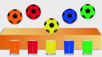 认识颜色 足球掉进杯子里变成彩色足球
