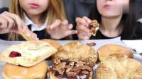 1美食, 国外吃播,吃巨型甜甜圈,直接用手抓着吃