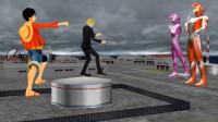 自制特效动画:路飞和山治联手,反被哉阿斯奥特曼击败