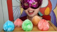 吃冰达人,妹子吃创意桃子造型的彩色冰块,色彩亮丽冰爽刺激