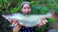 农村妹子,大鱼熬汤,美味且营养