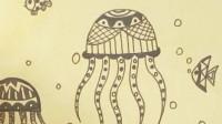 告诉你怎么画黑白装饰画,漂亮的水母是这样画出来的