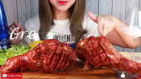 【Great-Girl, ASMR】, 辣酱火鸡腿+芝士酱