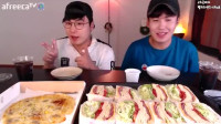【大胃王吃播】韩国小哥火腿芝士三明治吃播!