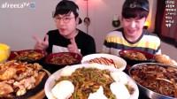 【大胃王吃播】韩国小哥辣椒杂菜x糖醋肉x炸酱面吃播秀!