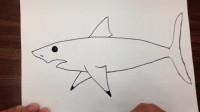 亲子绘画课:如何教孩子一笔笔画一条大白鲨?1分钟就学会