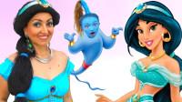 国外亲子互动美妆:女儿将妈妈化妆打扮成了迪士尼茉莉公主