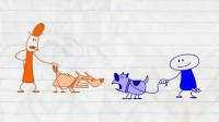 搞笑铅笔动画:狗狗打架引发主人火拼,最后由狗狗相互道歉握手言和
