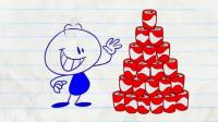 搞笑铅笔动画:都是打嗝惹的祸!小笨蛋,看你还敢不敢喝这么多饮料