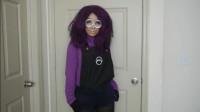 国外时尚美妆,小姐姐紫色卡通仿妆,呆萌可爱 超好玩!