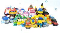 一整箱的《变形警车珀利》机器人机甲变形玩具车展示 学习英语