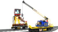 积木组装货物列车和起重机